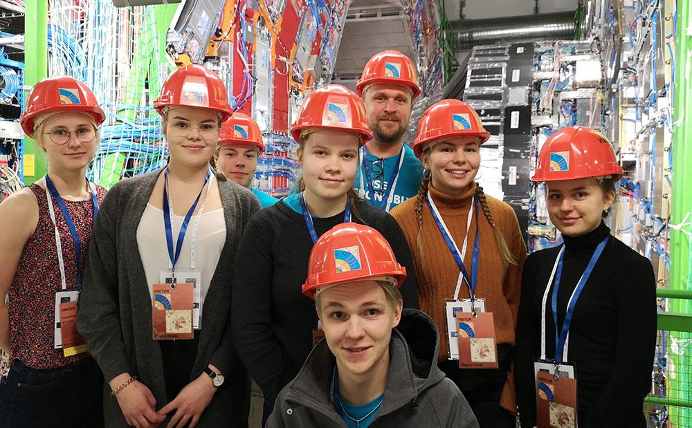 Students from Vammala high school attending CERN filed trip